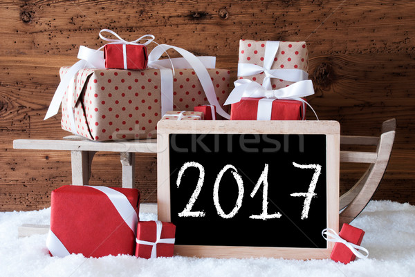 Sleigh With Gifts On Snow, Text 2017 Stock photo © Nelosa