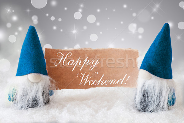 Blue Gnomes With Card, Text Happy Weekend Stock photo © Nelosa