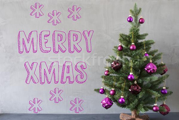 árvore de natal cimento parede texto alegre Foto stock © Nelosa