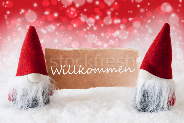 Red Christmassy Gnomes With Card, Willkommen Means Welcome Stock photo © Nelosa