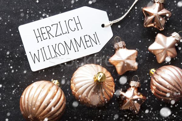 Bronze Christmas Balls, Snowflakes, Herzlich Willkommen Means Welcome Stock photo © Nelosa