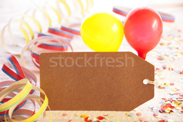 Party Label, Balloon, Streamer, Copy Space For Advertisement Stock photo © Nelosa