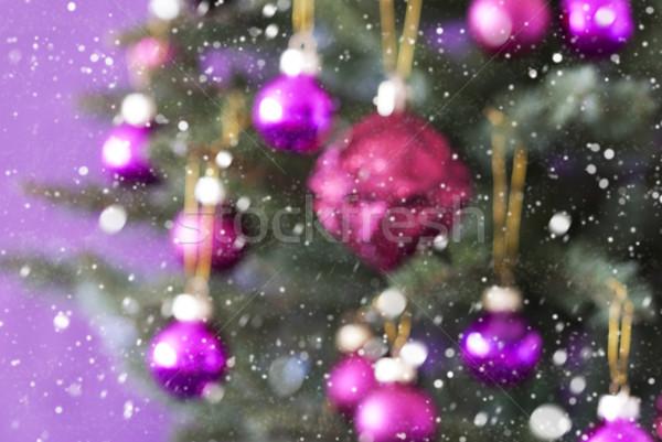 Blurry Christmas Tree With Rose Quartz Balls And Snowflakes Stock photo © Nelosa