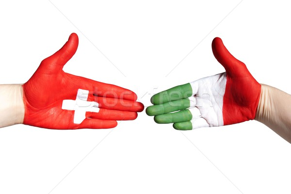 italian and swiss handshake Stock photo © Nelosa