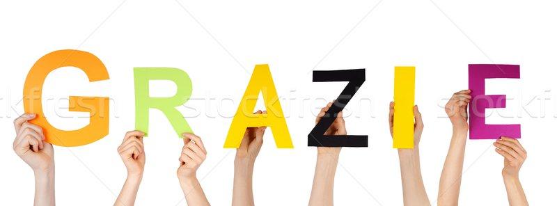 Handen veel Italiaans woord dank Stockfoto © Nelosa