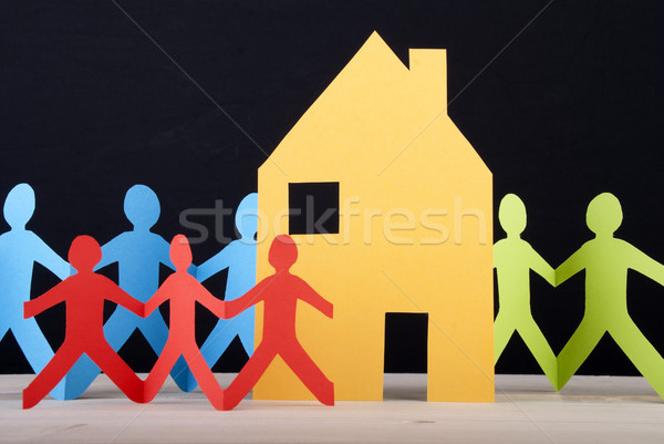 Colorful People and a House Stock photo © Nelosa