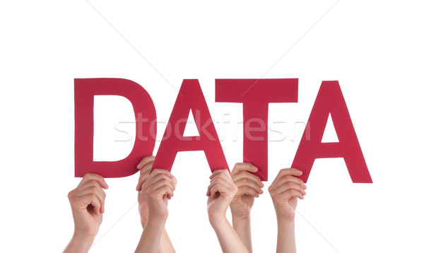 Many People Hands Holding Red Straight Word Data Stock photo © Nelosa