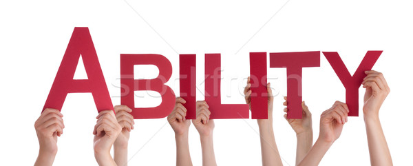 Many People Hands Holding Red Straight Word Ability Stock photo © Nelosa