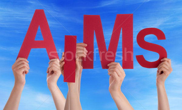 Many People Hands Holding Red Word Aims Blue Sky Stock photo © Nelosa