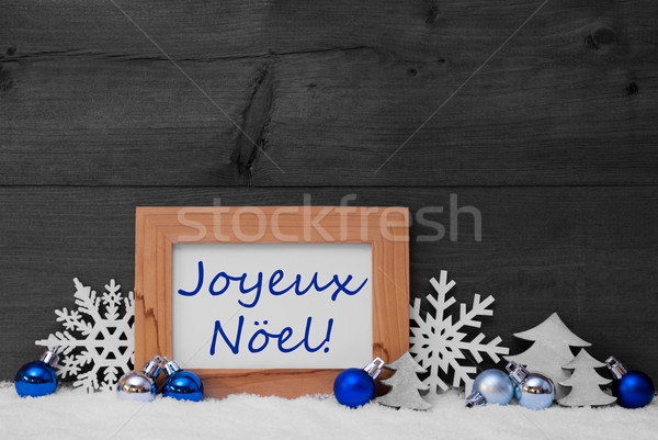 Stock photo: Blue Gray Decoration, Snow, Joyeux Noel Mean Merry Christmas