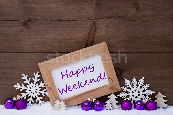 Purple Christmas Decoration, Snow, Happy Weekend Stock photo © Nelosa