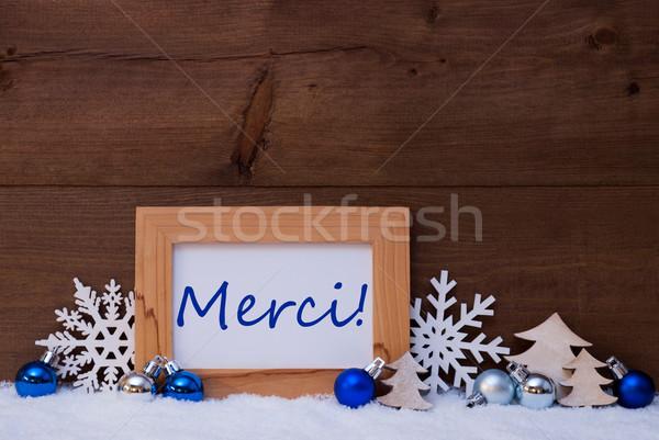 Blue Christmas Decoration, Snow, Merci Means Thank You Stock photo © Nelosa