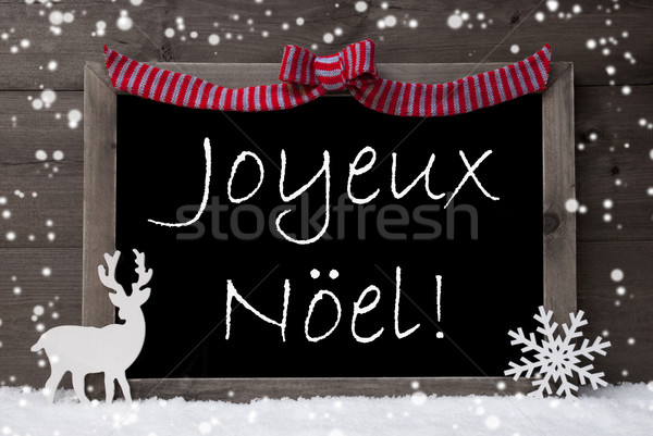 Gray Card, Snow, Loop, Joyeux Noel Mean Merry Christmas Stock photo © Nelosa