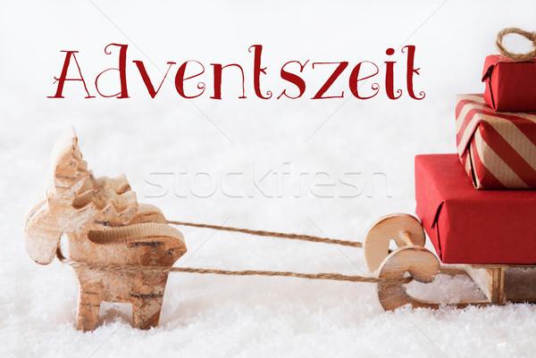 Reindeer With Sled On Snow, Adventszeit Means Advent Season Stock photo © Nelosa