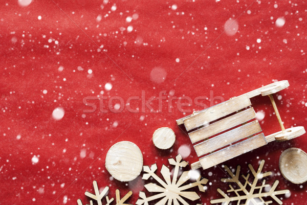 Christmas Decoration Like Sled On Wrapping Paper, Snowflakes, Copy Space Stock photo © Nelosa