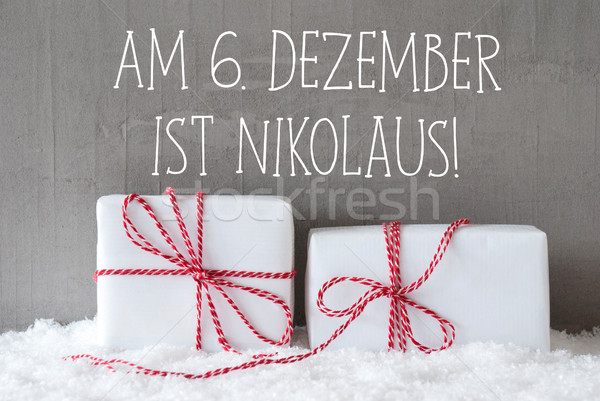 Two Gifts With Snow, Nikolaus Means Nicholas Day Stock photo © Nelosa