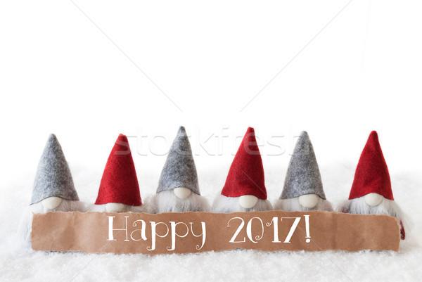 Blanche texte heureux étiquette anglais happy new year Photo stock © Nelosa