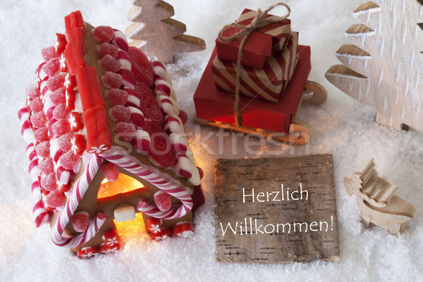 Gingerbread House, Sled, Snow, Herzlich Willkommen Means Welcome Stock photo © Nelosa