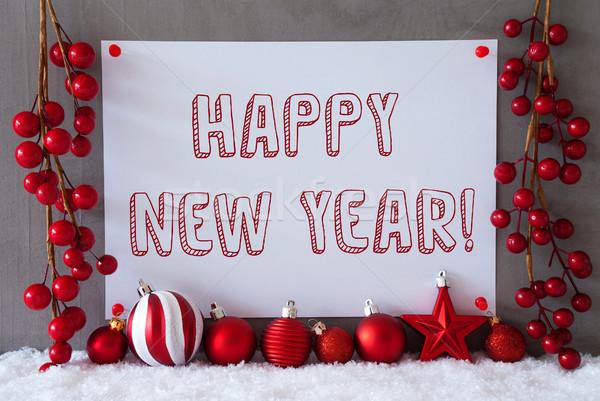 Etiket kar Noel metin happy new year Stok fotoğraf © Nelosa