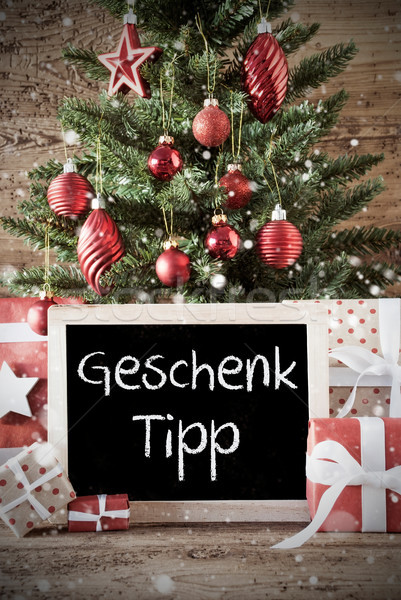 Nostalgisch kerstboom geschenk tip schoolbord tekst Stockfoto © Nelosa