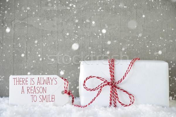 Geschenk cement sneeuwvlokken citaat altijd glimlach Stockfoto © Nelosa