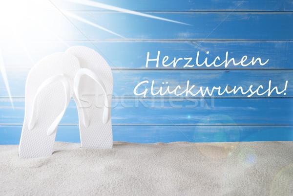 Sunny Summer Background, Herzlichen Glueckwunsch Means Congratulations Stock photo © Nelosa