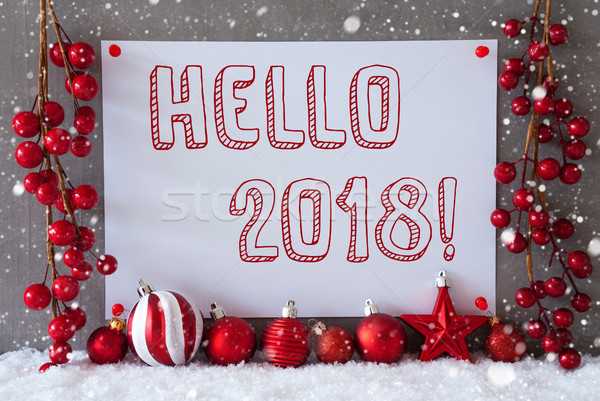 Stock photo: Label, Snowflakes, Christmas Balls, Text Hello 2018