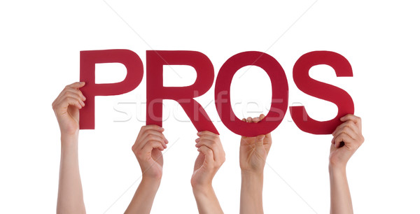 Many People Hands Holding Red Straight Word Pros  Stock photo © Nelosa