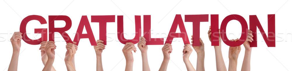 Emberek tart gratuláció sok kaukázusi kezek Stock fotó © Nelosa