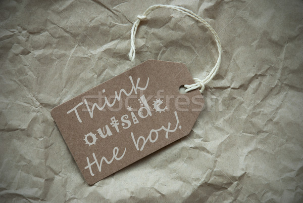 Beige Label Think Outside The Box Background Stock photo © Nelosa
