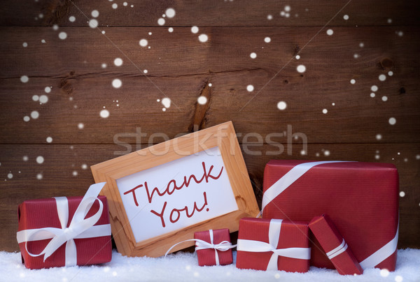 Red Christmas Decoration, Gifts, Snow, Thank You, Snowflakes Stock photo © Nelosa