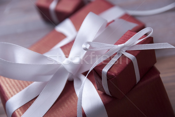 One Red Christmas Gift, Present, White Ribbon, Copy Space Stock photo © Nelosa