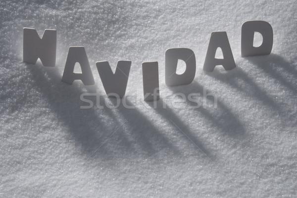 White Word Navidad Means Christmas On Snow, Snowflakes Stock photo © Nelosa