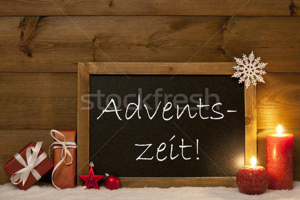 Festive Card, Blackboard, Snow, Adventszeit Mean Christmas Time Stock photo © Nelosa