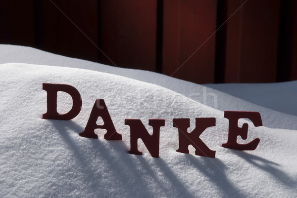 Christmas Card With Snow, Danke Mean Thank You Stock photo © Nelosa