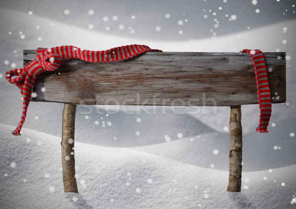 Stock photo: Brown Christmas Sign Copy On Snow, Red Ribbon, Snowflakes