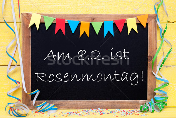 Chalkboard With Party Decoration, Text Rosenmontag Means Carnival Stock photo © Nelosa