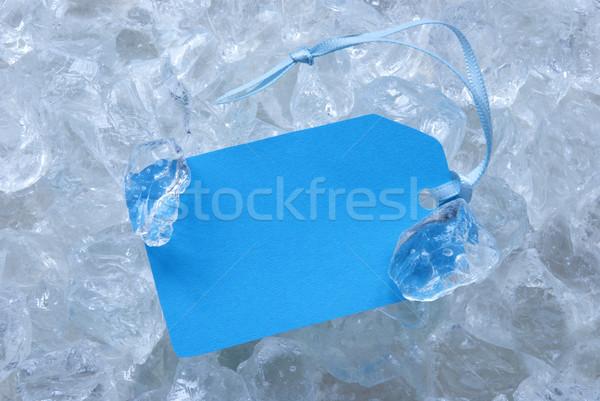 Foto stock: Azul · etiqueta · hielo · espacio · de · la · copia · azul · claro · cinta