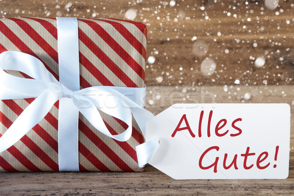 Present With Snowflakes, Text Alles Gute Means Best Wishes Stock photo © Nelosa
