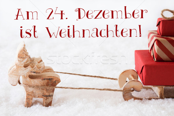 Reindeer With Sled On Snow, Weihnachten Means Christmas Stock photo © Nelosa