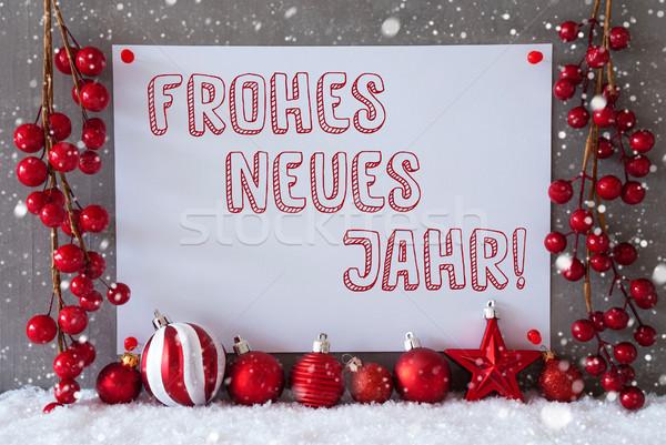 Etiket kar taneleri Noel yılbaşı metin Stok fotoğraf © Nelosa