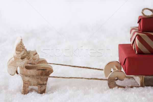 Reindeer With Sled, White Background, Copy Space For Advertisement Stock photo © Nelosa