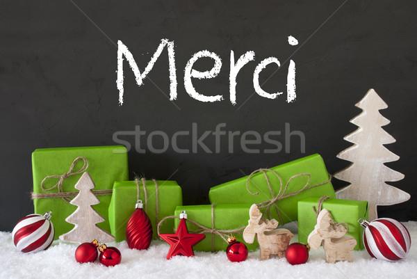 Christmas Decoration, Cement, Snow, Merci Means Thank You Stock photo © Nelosa