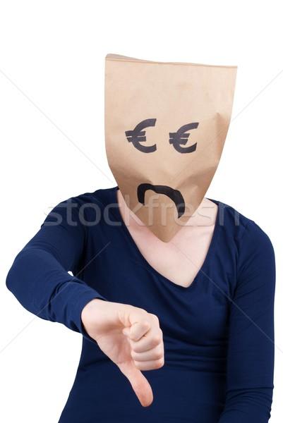 Smutne euro torby papierowe w dół osoby Zdjęcia stock © Nelosa