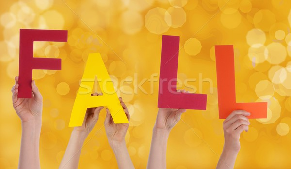 Hands Holding the Word Fall Stock photo © Nelosa