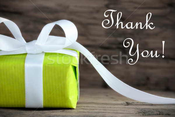 Green Present with Thank You Text Stock photo © Nelosa