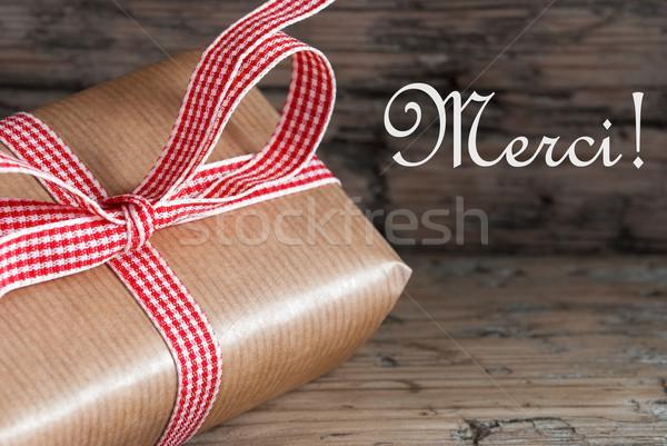 Rustic Gift with Merci Stock photo © Nelosa