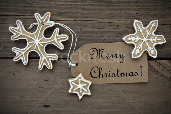 Ginger Bread Stars with Merry Christmas Label Stock photo © Nelosa