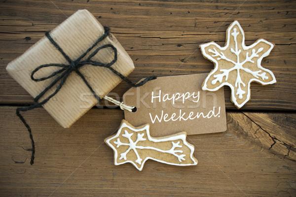белый счастливым уик-энд Рождества украшение Label Сток-фото © Nelosa