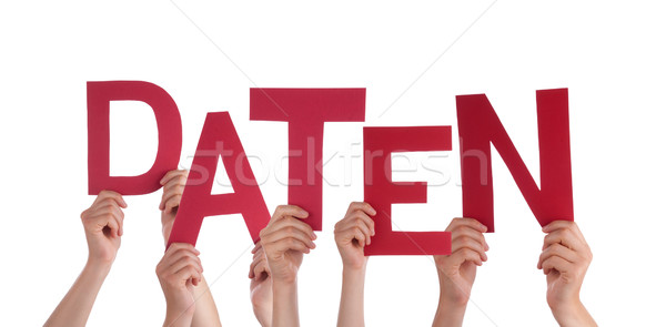 People Holding Red German Word Daten Means Data Stock photo © Nelosa